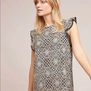 Anthropologie Antik Batik Metallic Tile Dress NWT